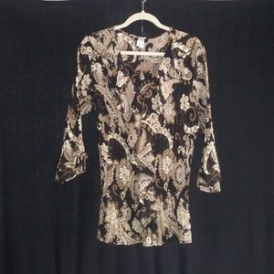 STUDIO 1940 FREE FLOWING MULTI BROWNS TOP